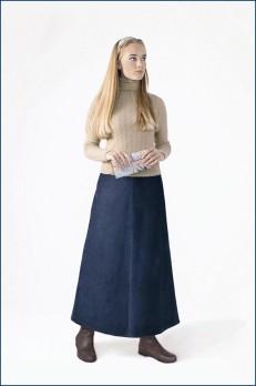 Юбка вельветовая длинная синяя